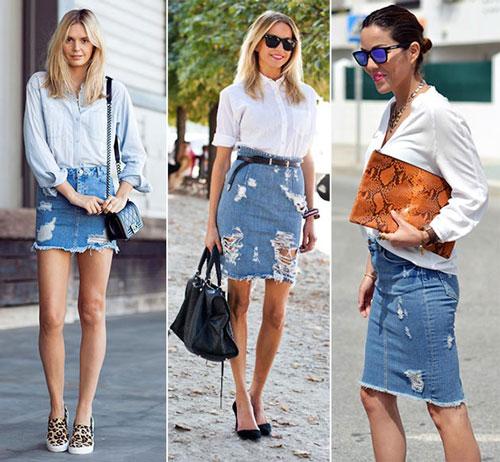 ассиметричные юбки и платья из денима