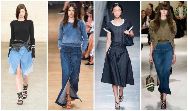 джинсовые юбки-макси и платья