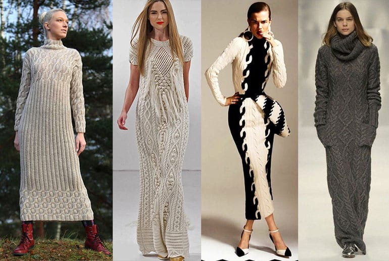 вязаные платья зима 2017 1