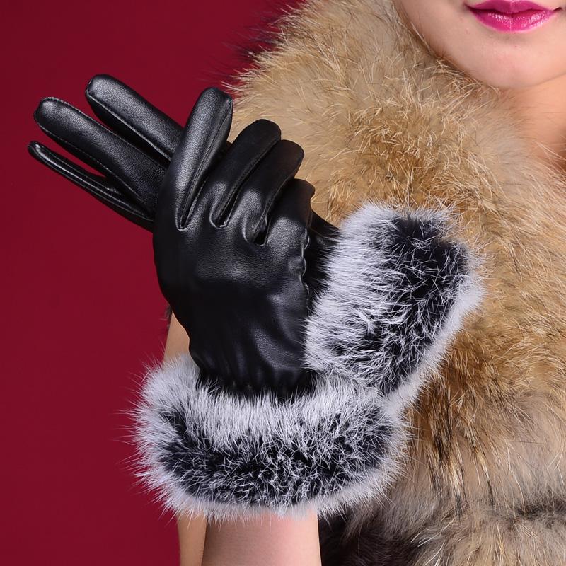 модные перчатки с мехом