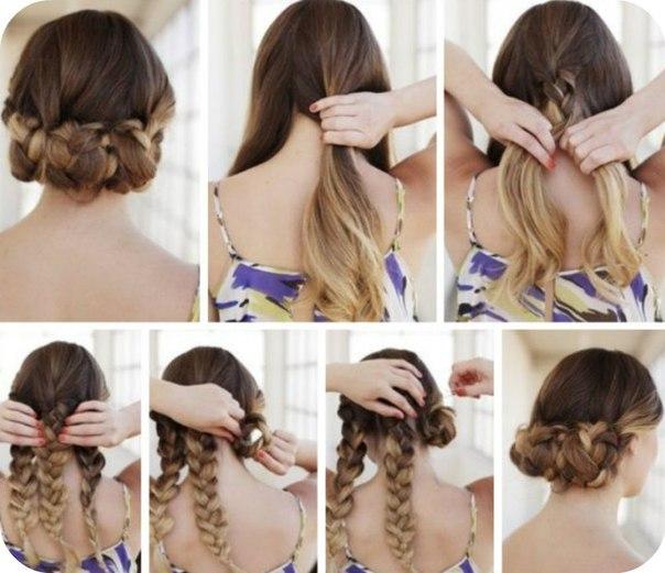 пучок на основе кос и плетений