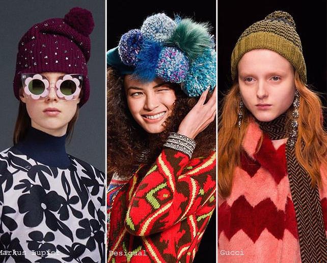модные вязаные шапки осень-зима 2016-2017, фото новинки 2