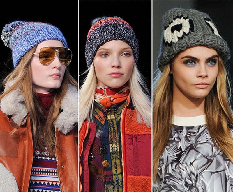 вязаные шапки осень-зима 2016-2017, модные тенденции 2