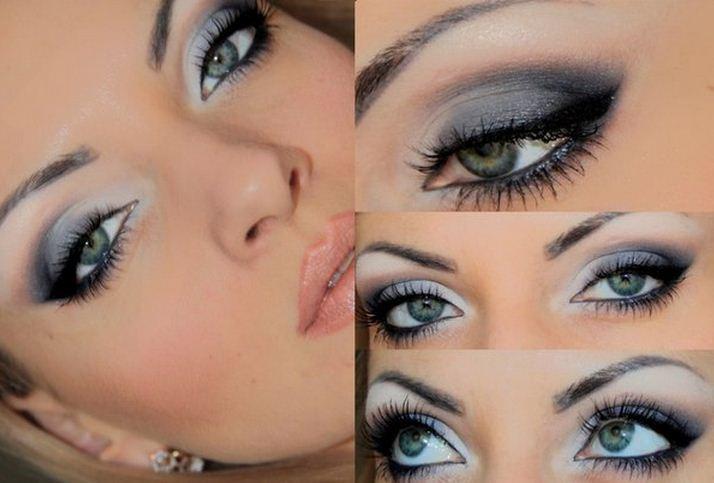 новогодний макияж для серых глаз, фото