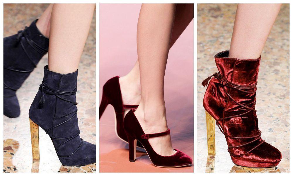 модная обувь со стразами, металлическими вставками и велюром на Новый год