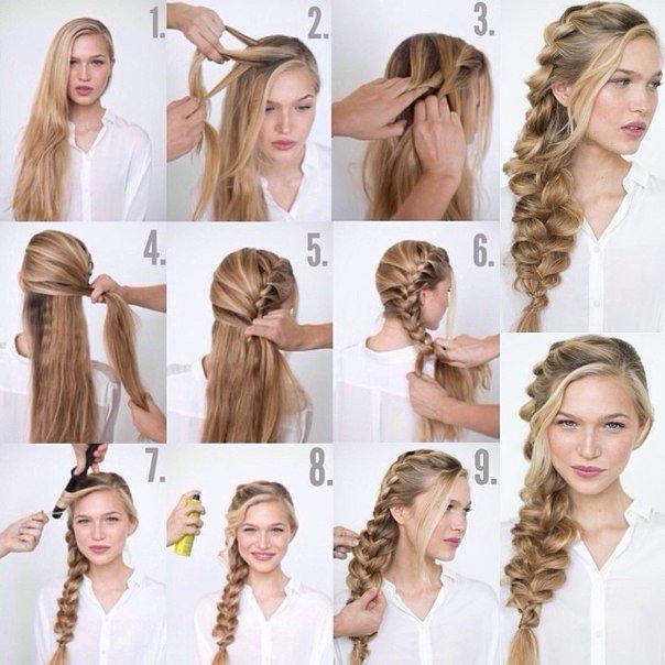 как сделать прическу на длинные волосы на Новый год 1