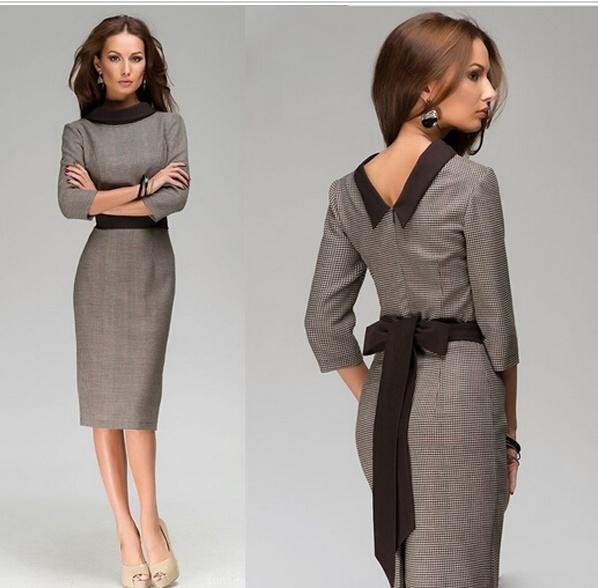 офисные платья с поясом 1
